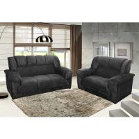 Conjunto de sofá em oferta preto com suede amassado 2 e 3 lugares em sala de estar