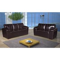 Conjunto de sofá de 2 e 3 lugares preto com tecido PU.em sala de estar