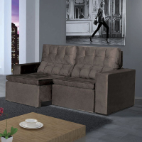 Sofá 2 lugares reclinável com veludo cinza em sala de estar