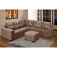 """Sofá moderno em """"L"""" na cor marrom em sala de estar"""