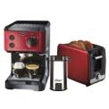 máquina de cafe expresso com torrada e moedor, vermelha