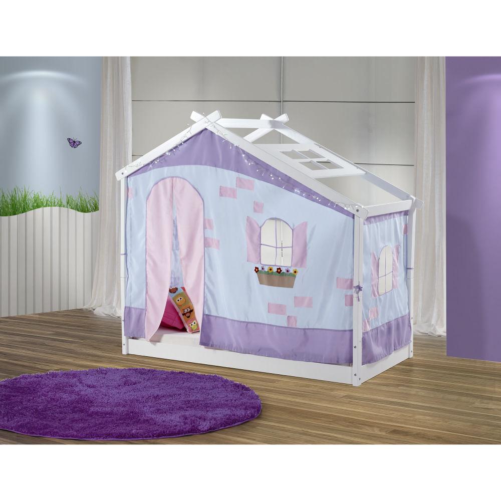 Cama Infantil Montessoriano Com Telhado Tijolinho Azul Lil S