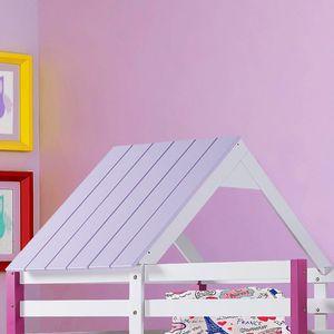 72fb7c1f77 Telhado para Cama Infantil Kinder - Madeira Maciça e MDF - Laca Lilás Claro    Branco Gelo