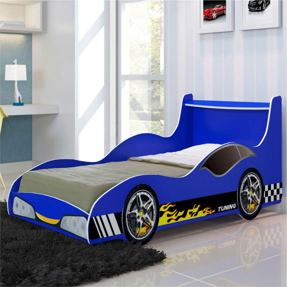 Cama Infantil Carro Tunning Azul Gelius Moveis Simonetti -> Sala Quarto Cozinha Carro
