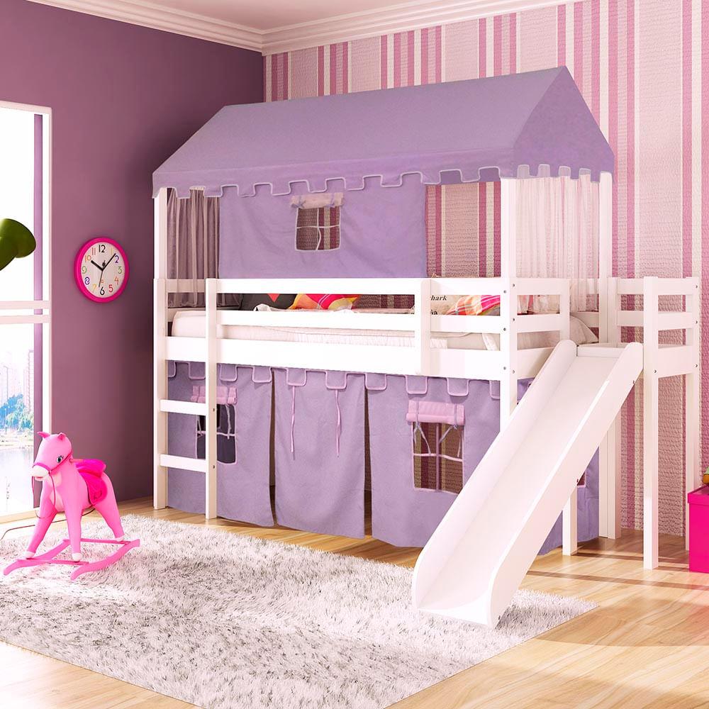 0609226edb Cama infantil com escorregador Lateral Transversal Tenda Castelo ...