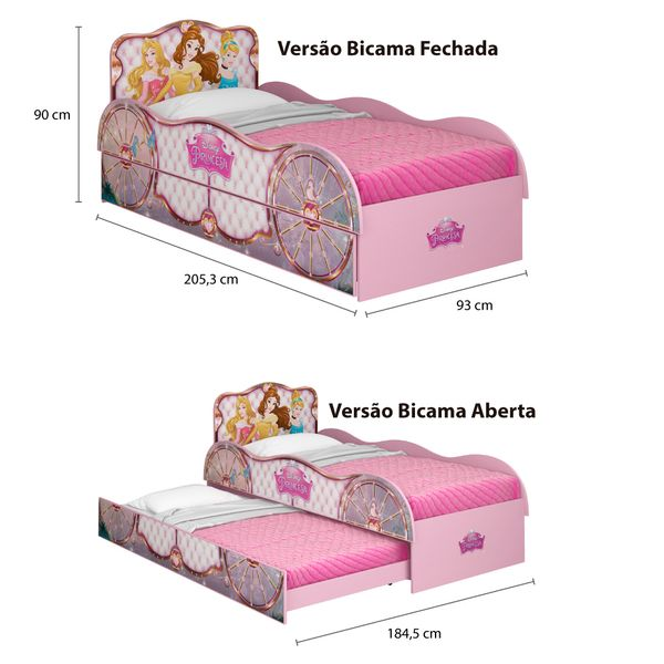 79eeb0a0ff Bicama Infantil Princesas Disney Fun - Pura Magia - Moveis Simonetti
