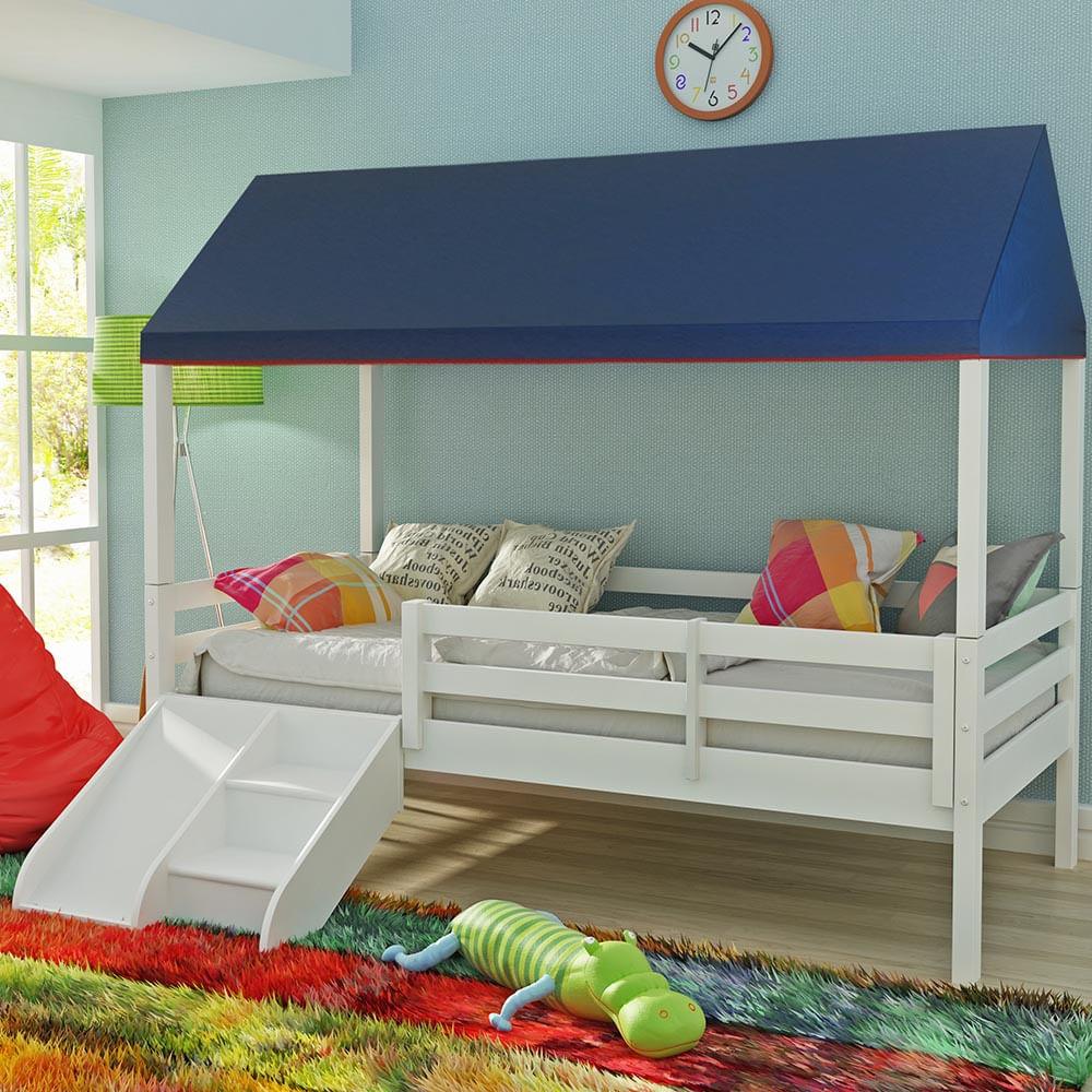 Cama Infantil Prime Com Grade De Prote O Telhado Completo E Kit