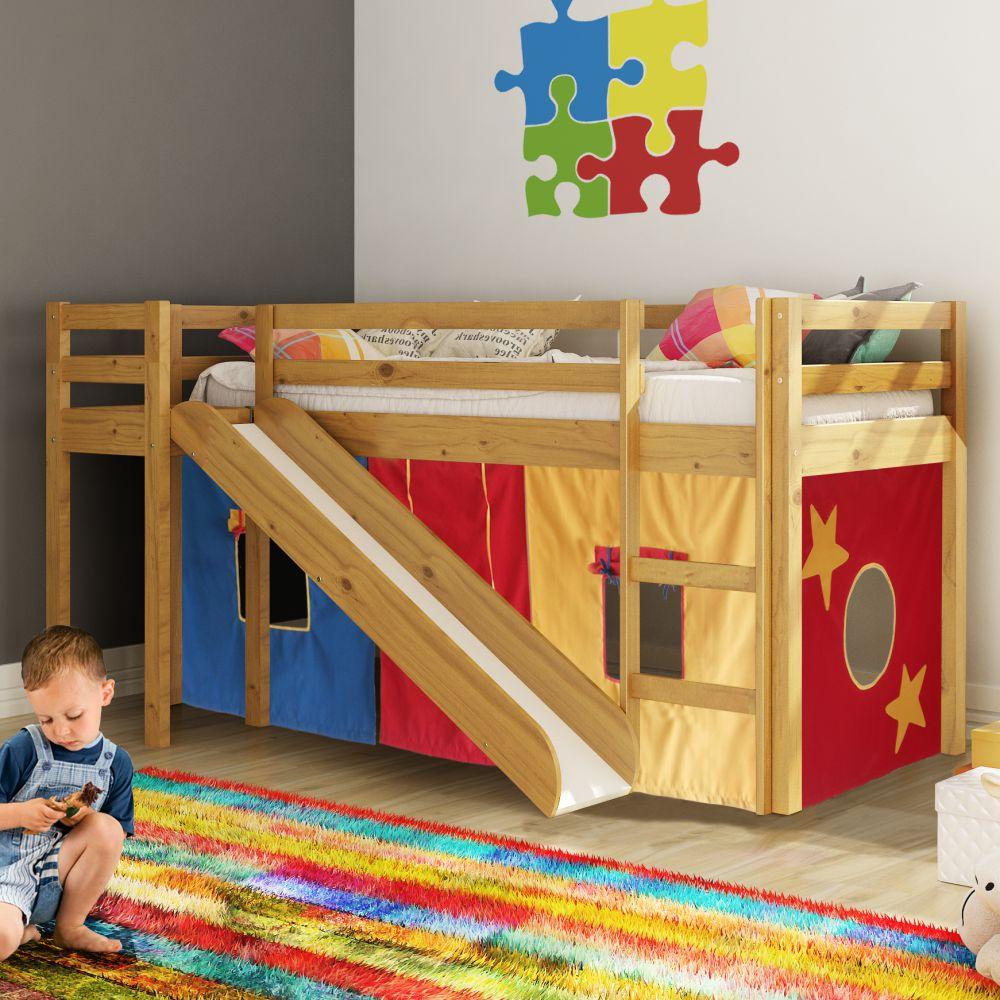Cama com escorregador transversal compacta p quartos for Cama infantil compacta