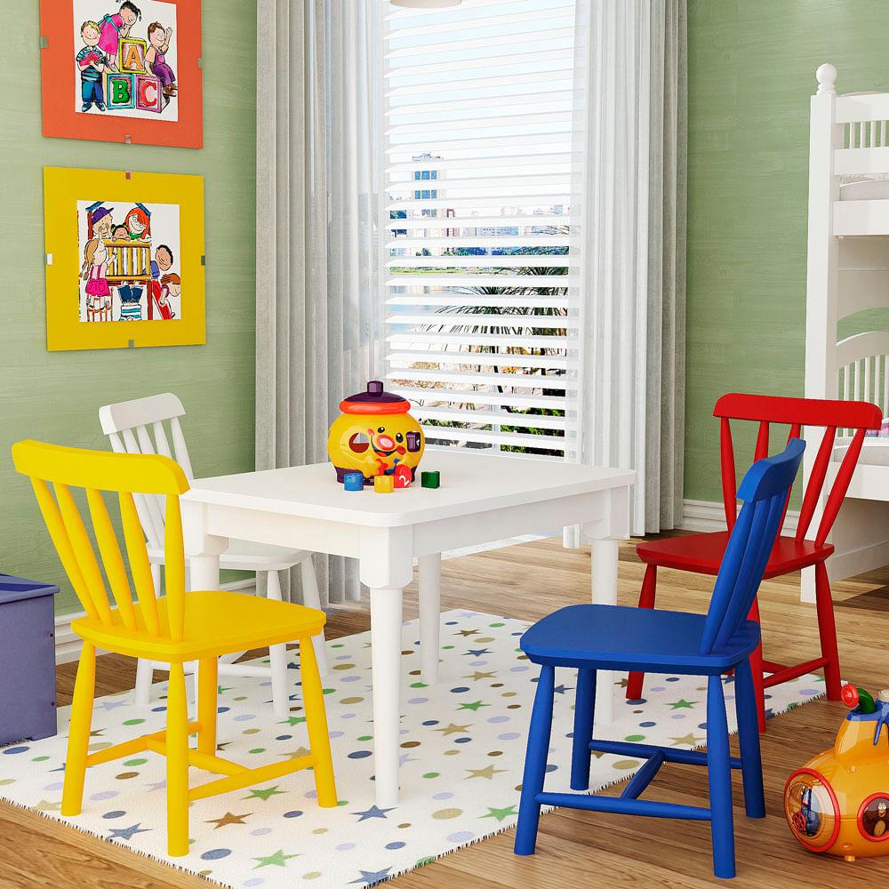 Conjunto Mesa Com 4 Cadeiras Infantis Madeira Maciça Acabamento