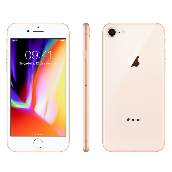 Iphone 8 Apple 64gb Dourado, Tela 4.7 Hd Retina, 4g, Câmera 12mp, Frontal 7mp, Nfc e Wi-fi