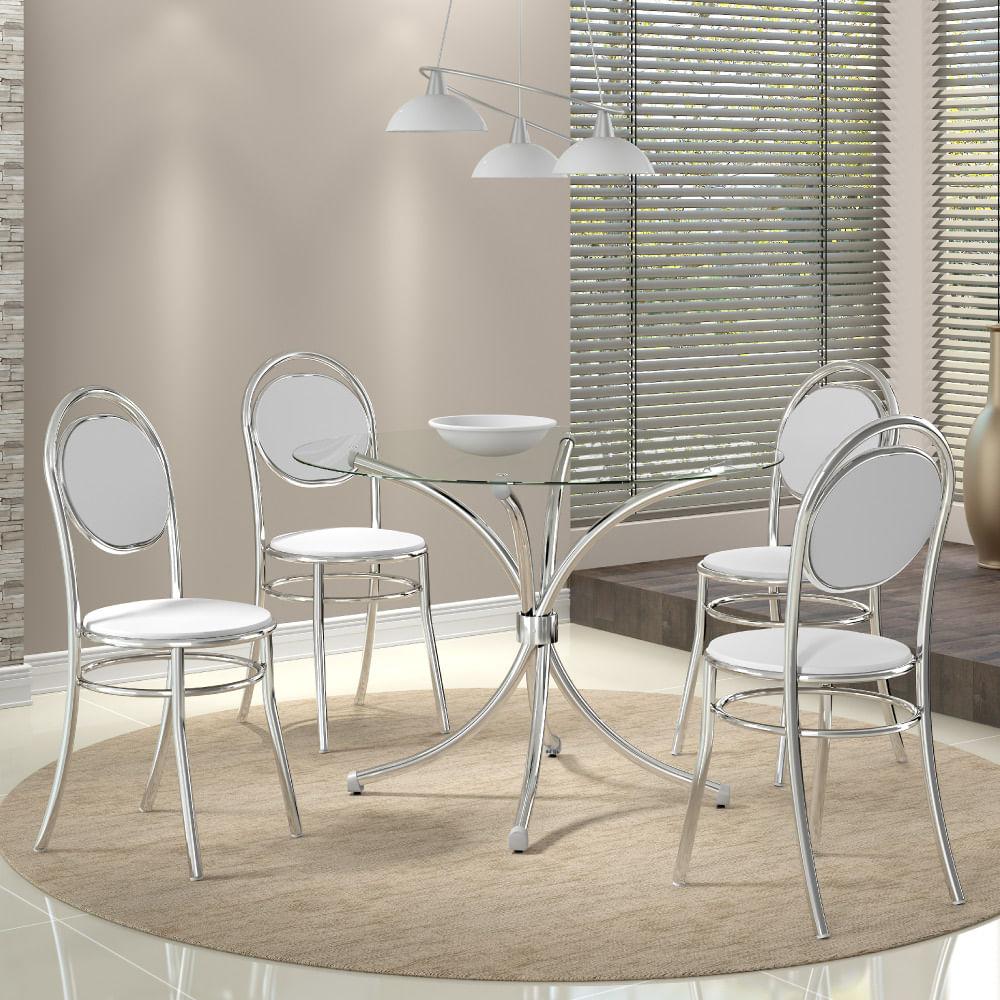 72961bf2612 Conjunto Mesa Redonda de Vidro e 4 Cadeiras 190 Carraro - Aço Cromado Branco